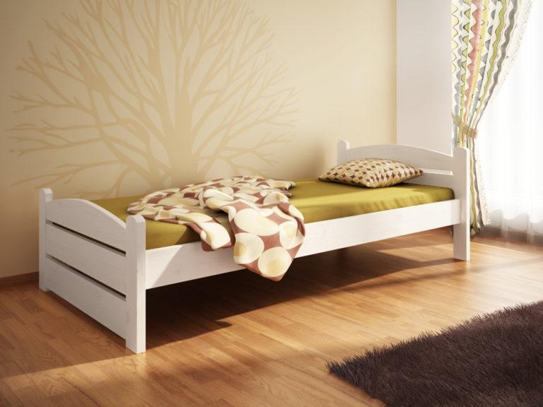 Białe łóżko sosnowe Svenja