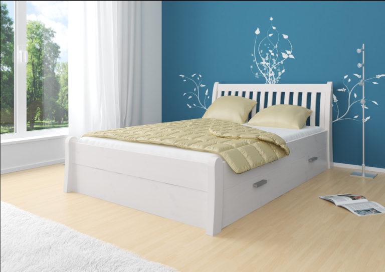 Białe łóżko sosnowe Tonja