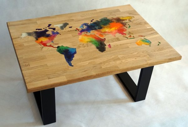 stolik kawowy kolorowy epoksydowany