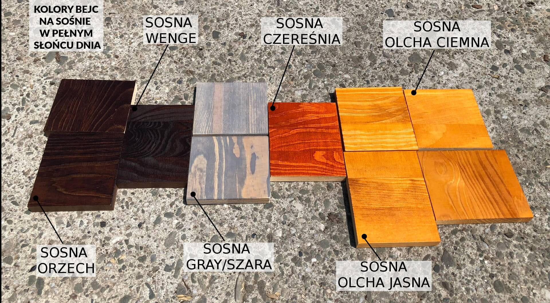 próbnik kolorów bejcy na drewnie sosnowym